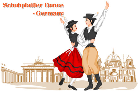 lederhosen: Vector design of German Couple performing Schuhplattler dance of Germany
