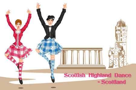 folk dance: Vector design of Couple performing Scottish Highland dance of Scotland