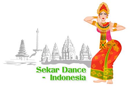 Vector design of Indonesian Woman performing Sekar dance of Indonesia