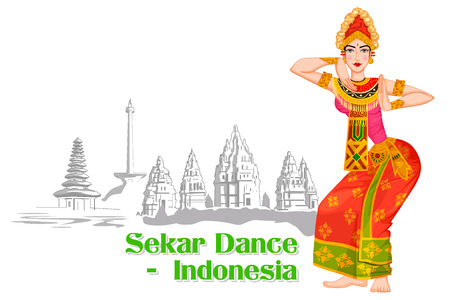 Vector design of Indonesian Woman performing Sekar dance of Indonesia