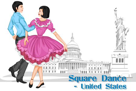 caller: Vector design of American Couple performing Square dance of United States of America