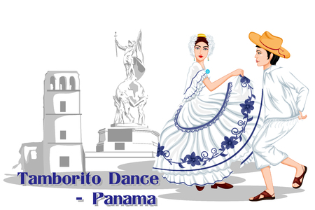panamanian: Vector design of Panamanian Couple performing Tamborito dance of Panama Illustration