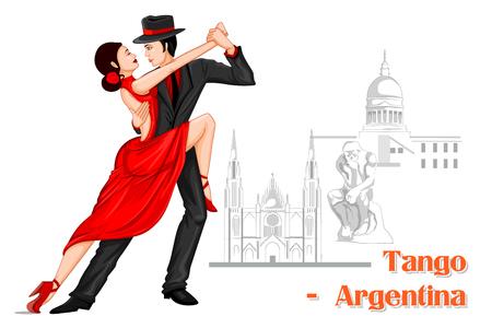 diseño del vector de la Pareja argentina de realizar la danza del tango de Argentina