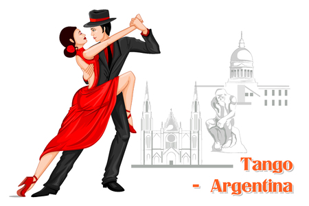 Vector design of Argentine Couple performing Tango dance of Argentina Çizim