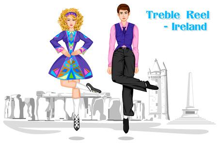 Vector design of Irish Couple performing Treble Reel dance of Ireland Vector Illustration