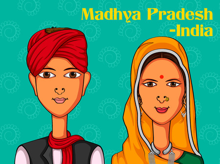 bhopal: Vector design of Madhya Pradeshii Couple in traditional costume of Madhya Pradesh, India Illustration
