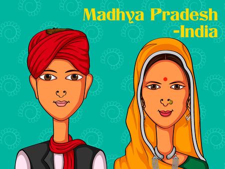 madhya: Vector design of Madhya Pradeshii Couple in traditional costume of Madhya Pradesh, India Illustration