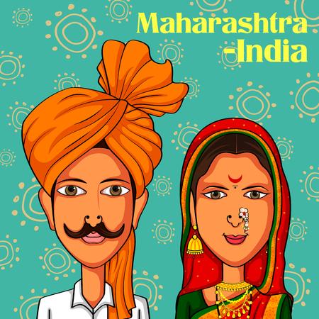 diseño del vector de Maharashtrian Pareja con trajes tradicionales de Maharashtra, India