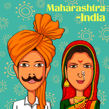 Vector design of Maharashtrian Couple in traditional costume of Maharashtra, India