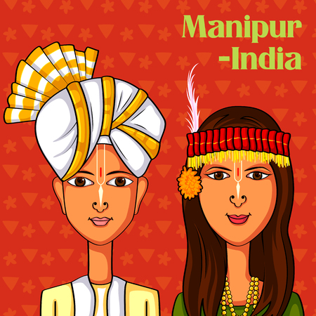 sha: Vector design of Manipuri Couple in traditional costume of Manipur, India Illustration