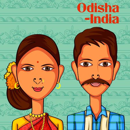 Diseño del vector del Odia Pareja con trajes tradicionales de Odisha, India