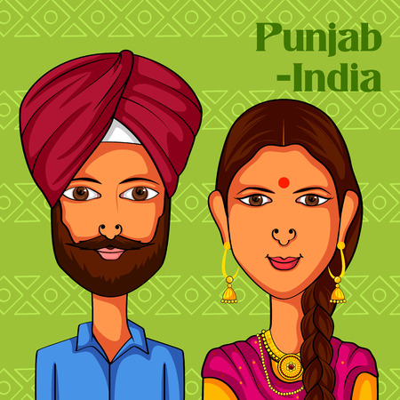 Vector design of Punjabi Couple in traditional costume of Punjab, India Ilustração