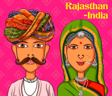 Vector design of Rajasthani Couple in traditional costume of Rajasthan, India