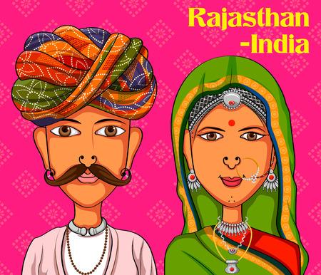 Vector ontwerp van Rajasthani Paar in traditionele klederdracht van Rajasthan, India Stockfoto - 59839693