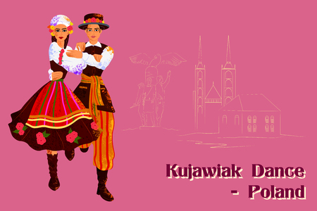 ceremonial clothing: Vector design of Couple performing Kujawiak dance of Poland