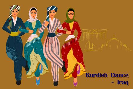 bailarinas arabes: Dise�o del vector de las personas que realizan la danza kurda de Irak Vectores