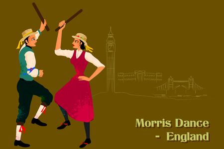 morris: Vector design of Couple performing Morris dance of England