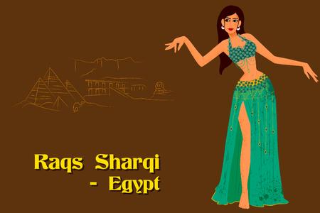 diseño del vector de la Mujer que realiza Raqs Sharqi la danza de Egipto