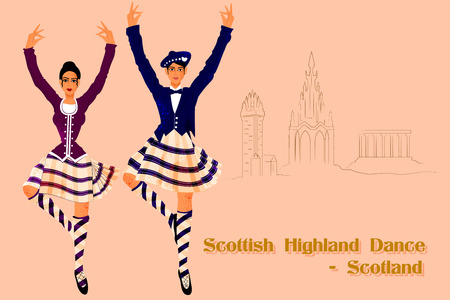 highland: Vector design of Couple performing Scottish Highland dance of Scotland