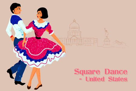folk dance: Vector design of Couple performing Square dance of United States of America