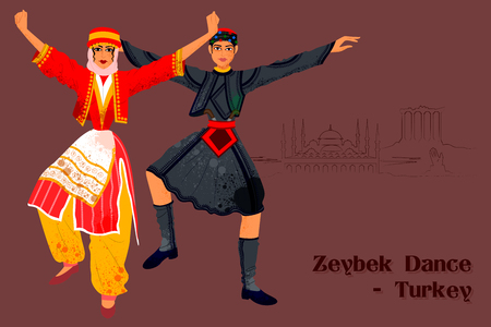Vector design of Couple performing Zeybek dance of Turkey