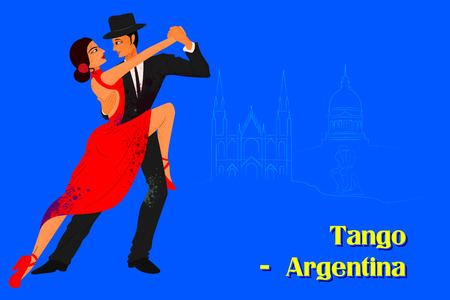 folk dance: Vector design of Couple performing Tango dance of Argentina