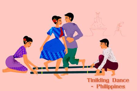 Diseño del vector de pareja de baile de realizar Tinikling Filipinas