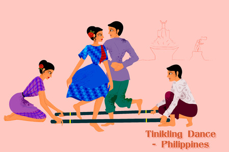 Vector design of Couple performing Tinikling dance of Philippines Ilustração