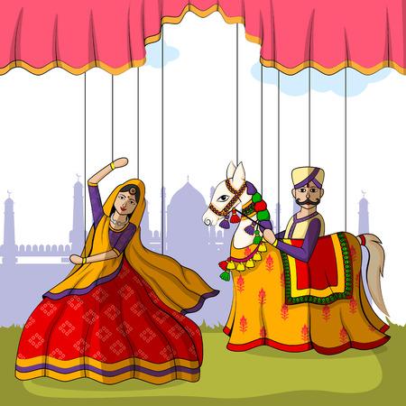 インドの芸術スタイルのカラフルなラージャスタン人形のベクター デザイン