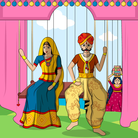 rural india: Vector design of colorful Rajasthani Puppet in Indian art style