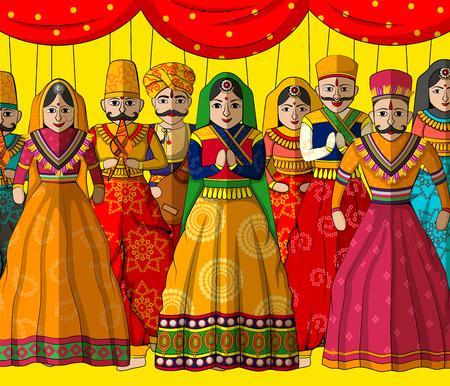 Vector ontwerp van kleurrijke Rajasthani Puppet in Indian kunststijl