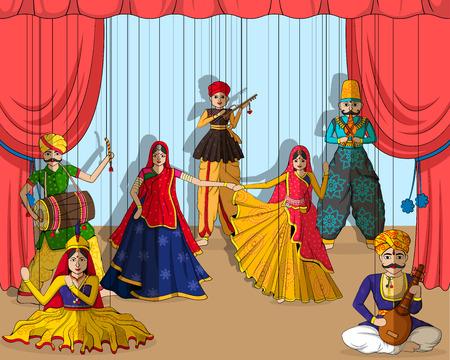 diseño del vector de colorido Rajastán Títeres en el estilo de arte indio