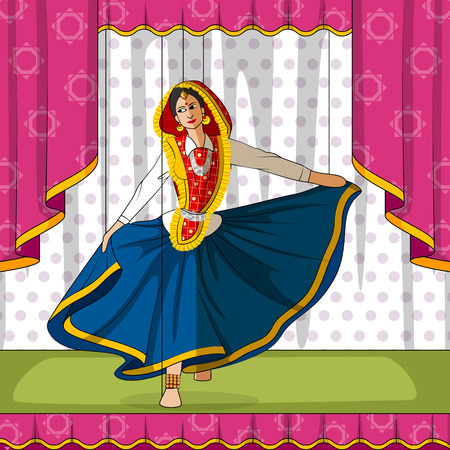 folk dance: Vector design of colorful Rajasthani Puppet doing performing Phag folk dance of Haryana, India