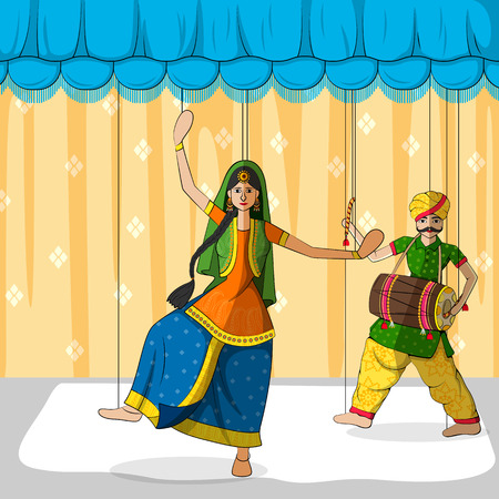 folk dance: Vector design of colorful Rajasthani Puppet doing Bhangra folk dance of Punjab, India