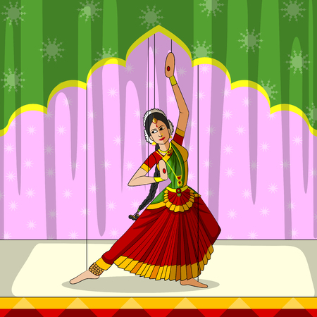 tamil nadu: Vector design of colorful Rajasthani Puppet doing Bharatanatyam classical dance of Tamil Nadu, India