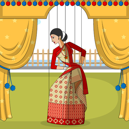 folk dance: Vector design of colorful Rajasthani Puppet doing Bihu folk dance of Assam, India