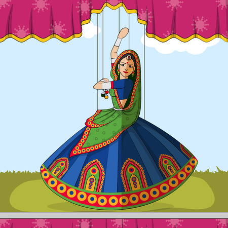 Vector design of colorful Rajasthani Puppet doing Garba folk dance of Gujarat, India