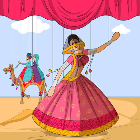 folk dance: Vector design of colorful Rajasthani Puppet doing Ghoomar folk dance of Rajasthan, India