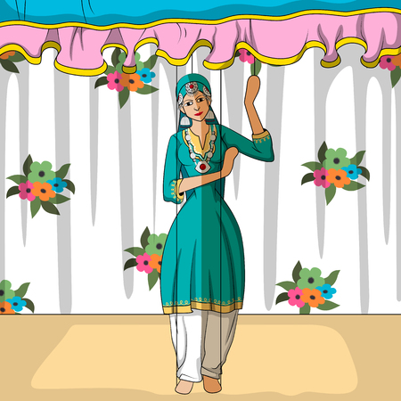 salwar: Vector design of colorful Rajasthani Puppet doing Kashmiri folk dance of India Illustration