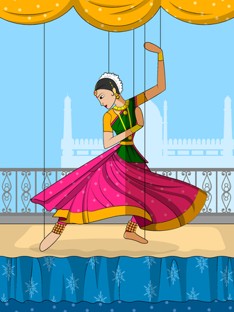 kathak: Vector design of colorful Rajasthani Puppet doing Kathak classical dance of Northern India