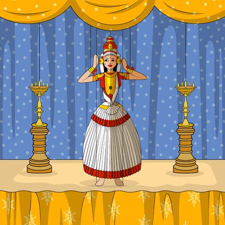malayalam: Vector design of colorful Rajasthani Puppet doing Kutiyattam classical dance of Kerala, India Illustration
