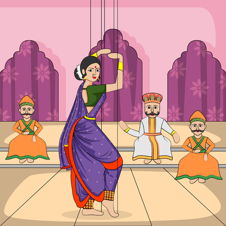 folk dance: Vector design of colorful Rajasthani Puppet doing Lavani folk dance of Maharashtra, India