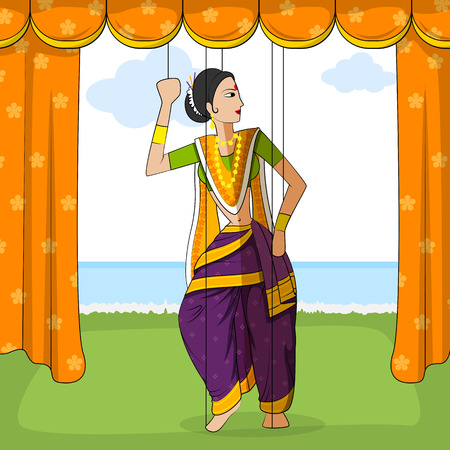 folk dance: Vector design of colorful Rajasthani Puppet doing Koli folk dance of Maharashtra, India Illustration