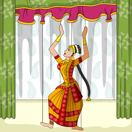 indian classical dance: Vector design of colorful Rajasthani Puppet doing Kuchipudi classical dance of Andhra Pradesh, India