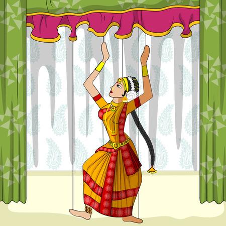 andhra: Vector design of colorful Rajasthani Puppet doing Kuchipudi classical dance of Andhra Pradesh, India