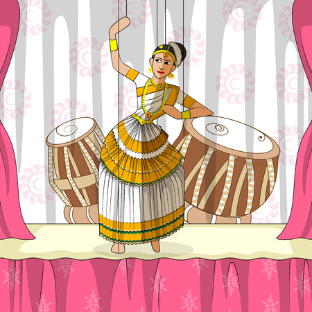 stage costume: Vector design of colorful Rajasthani Puppet doing Mohiniattam classical dance of Kerala, India Illustration