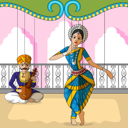 classical dance: Vector design of colorful Rajasthani Puppet doing Odissi classical dance of Odisha, India
