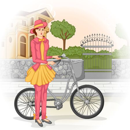 victorian woman: Vector design of vintage Victorian woman with cycle