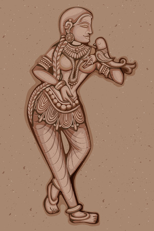carving: Vector design of Vintage statue of Indian female sculpture engraved on stone