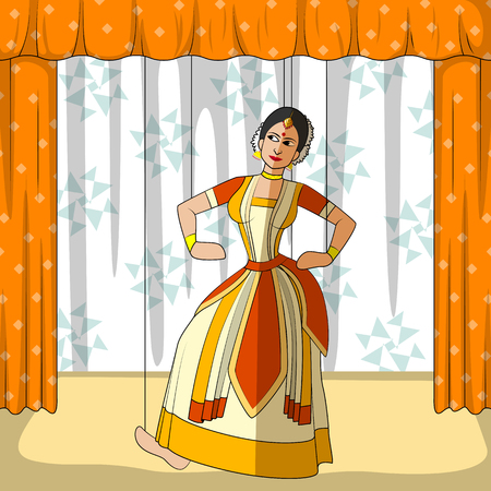rajasthani: Vector design of colorful Rajasthani Puppet doing Sattriya classical dance of Assam, India